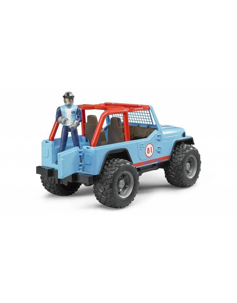 Bruder Bruder 2541 - Jeep Cross Country Blauw met rally-rijder