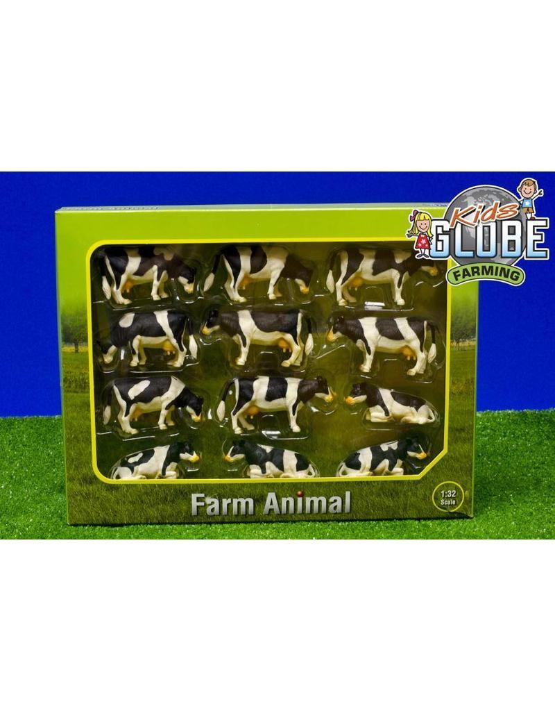 Kids Globe Kids Globe 571929 - koeien zwartbont (12 stuks) 1:32