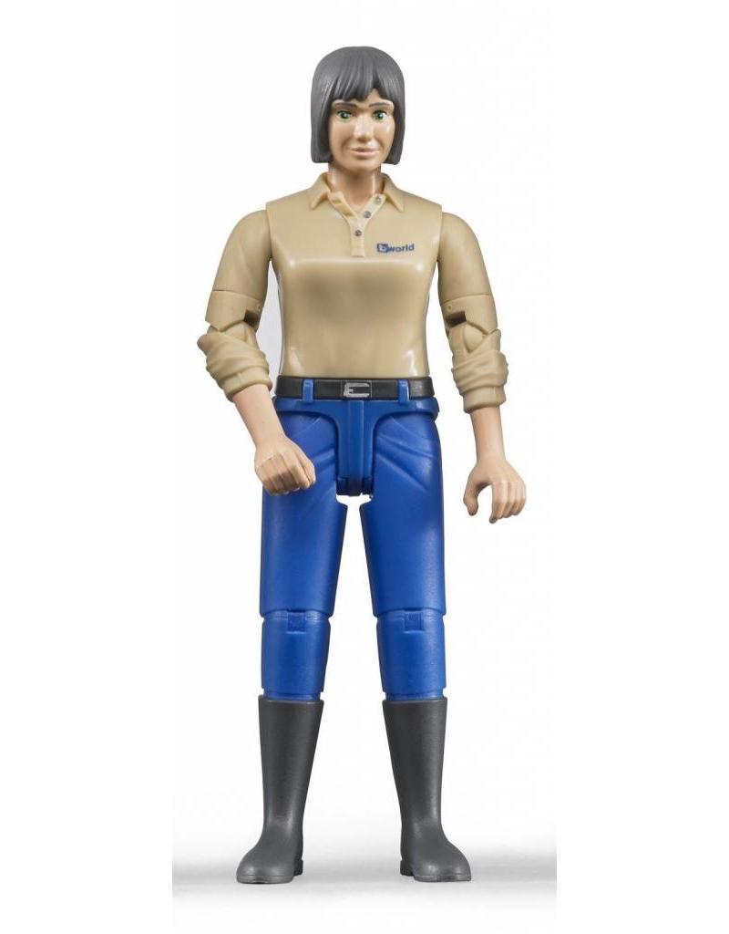 Bruder Bruder 60406 - Speelfiguur vrouw: blank, grijs, blauwe jeans