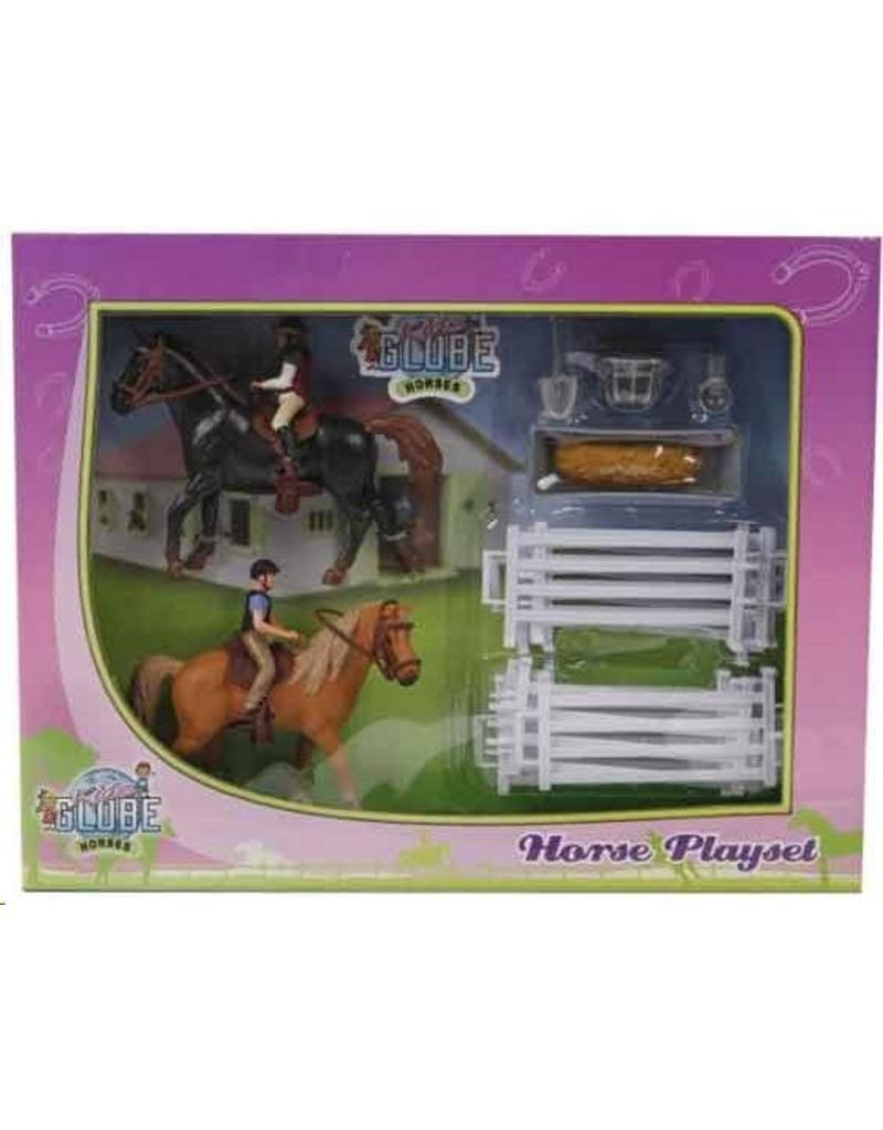 Kids Globe 640072 - Speelset: 2 paarden met ruiters en accessoires 1:24 (geschikt voor SCHLEICH)
