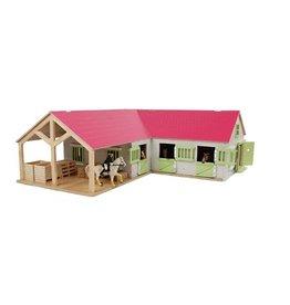 Kids Globe Kids Globe 610210 - Paardenhoekstal met3 boxen en berging1:24 wit/roze (geschikt voor Schleich)