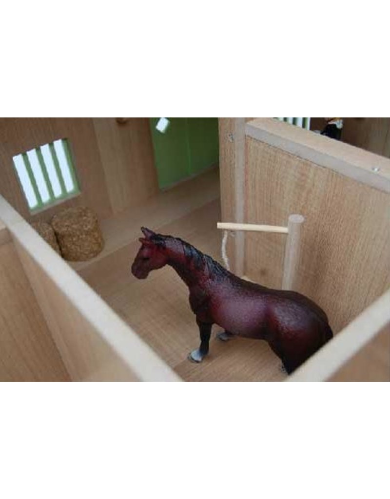 Kids Globe Kids Globe 61020 - Paardenhoekstal met3 boxen en berging1:24 wit/roze (geschikt voor Schleich)