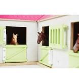 Kids Globe 610210 - Paardenhoekstal met3 boxen en berging1:24 wit/roze (geschikt voor Schleich)