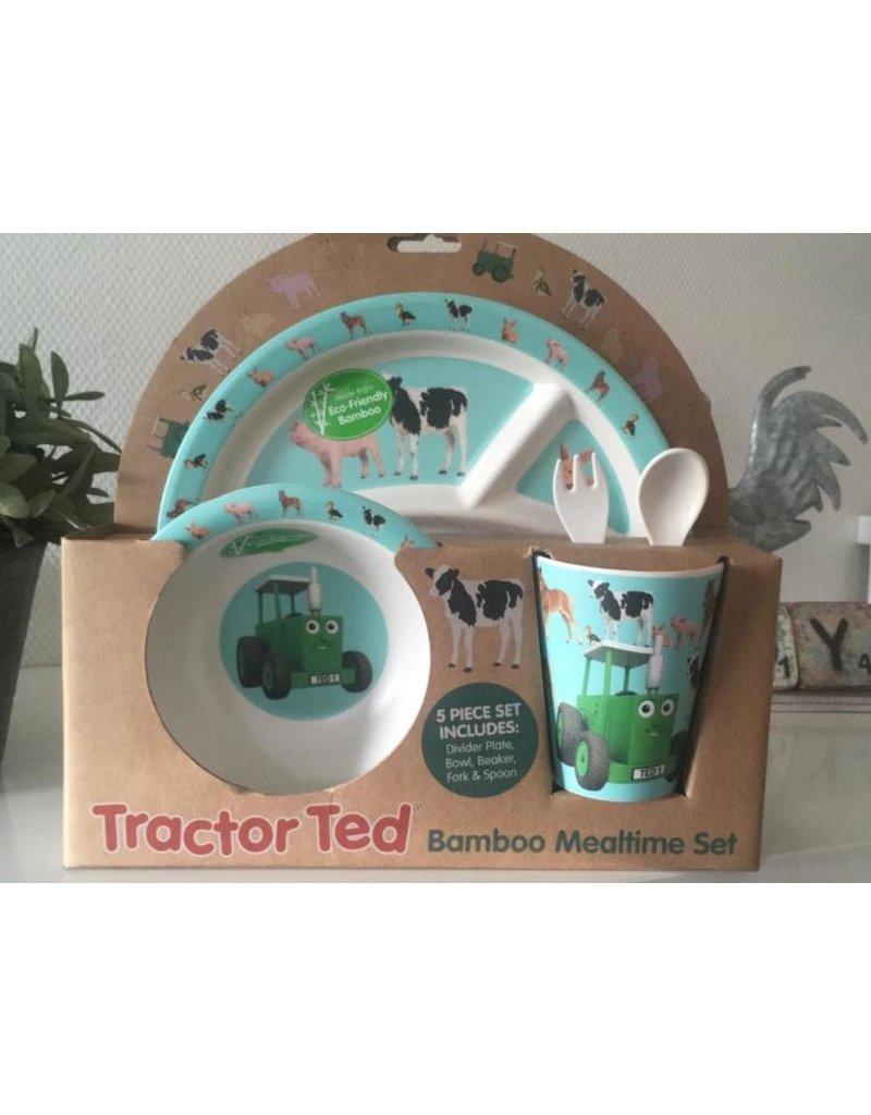 Tractor Ted Tractor Ted - Giftset Bamboo klene dieren: Beker, Bakje/Kom, 3 vaks bord met bestek