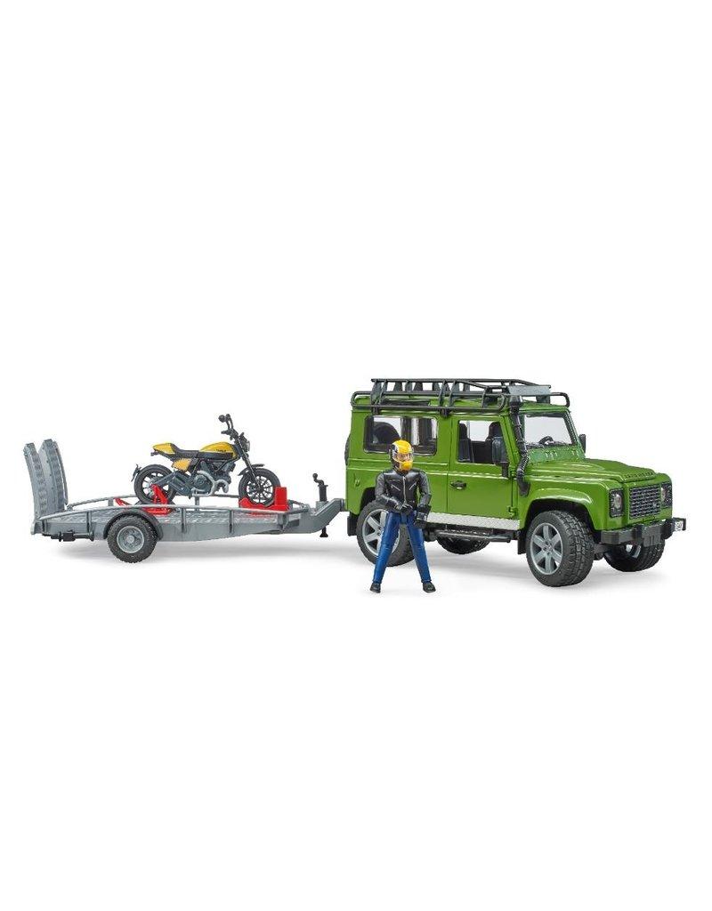 Bruder Bruder 2589 - Land Rover Defender met aanhanger en Scrambler Ducati