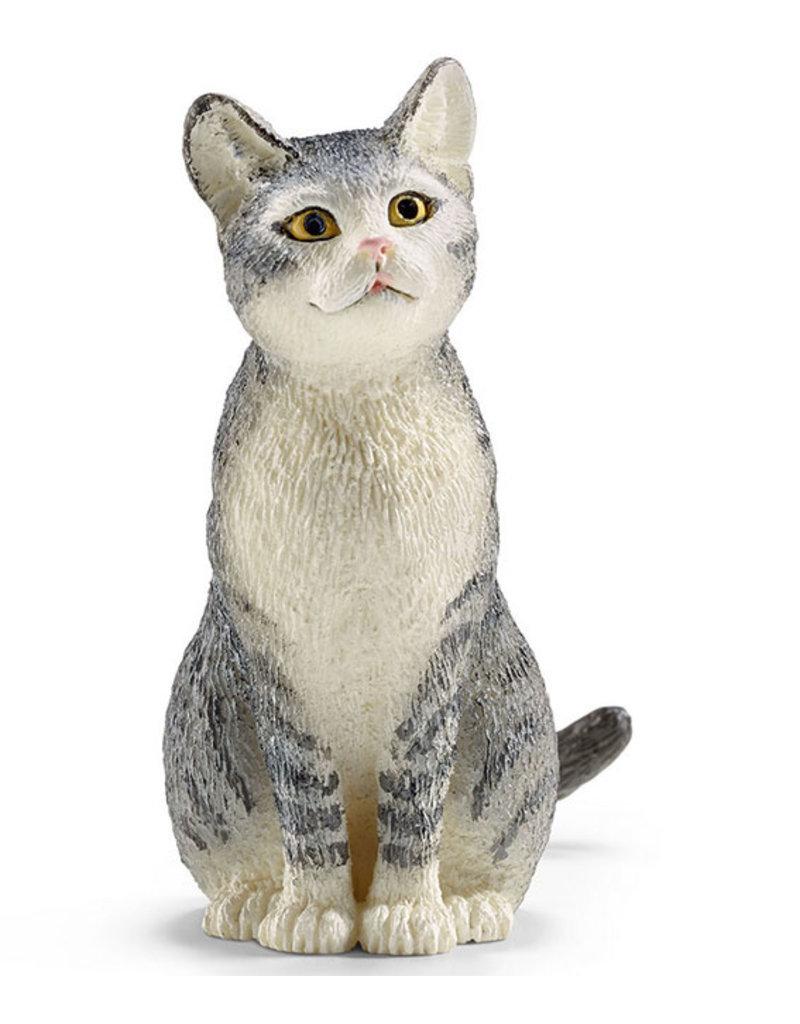 Schleich Schleich CAT 13771 - grijze kat, zittend