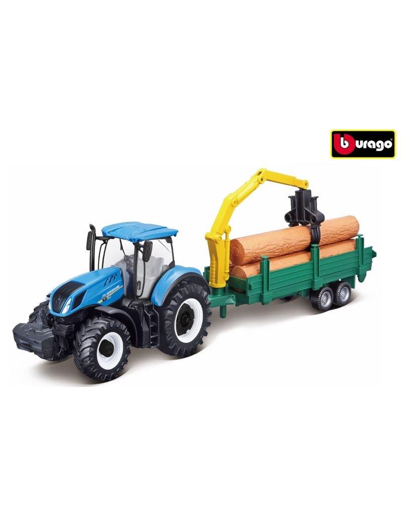 Bburago 520171 - New Holland met bosbouw aanhanger