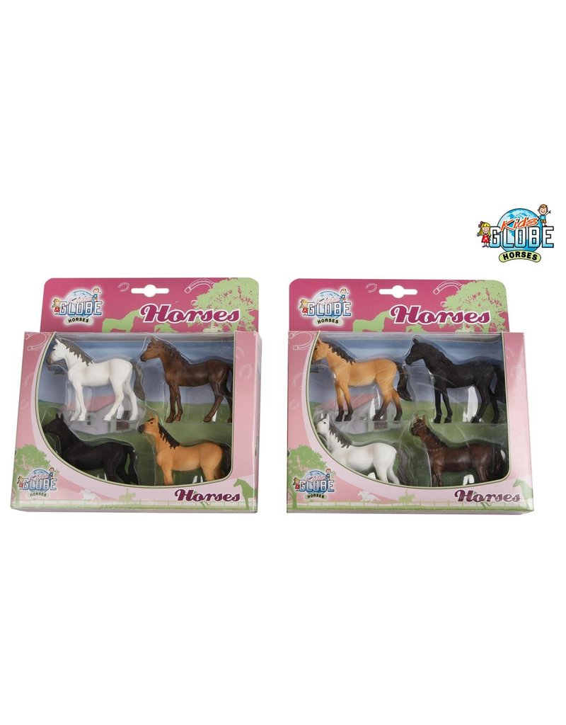 Kids Globe Kids Globe 640085 - Set met 4 paarden 1:32