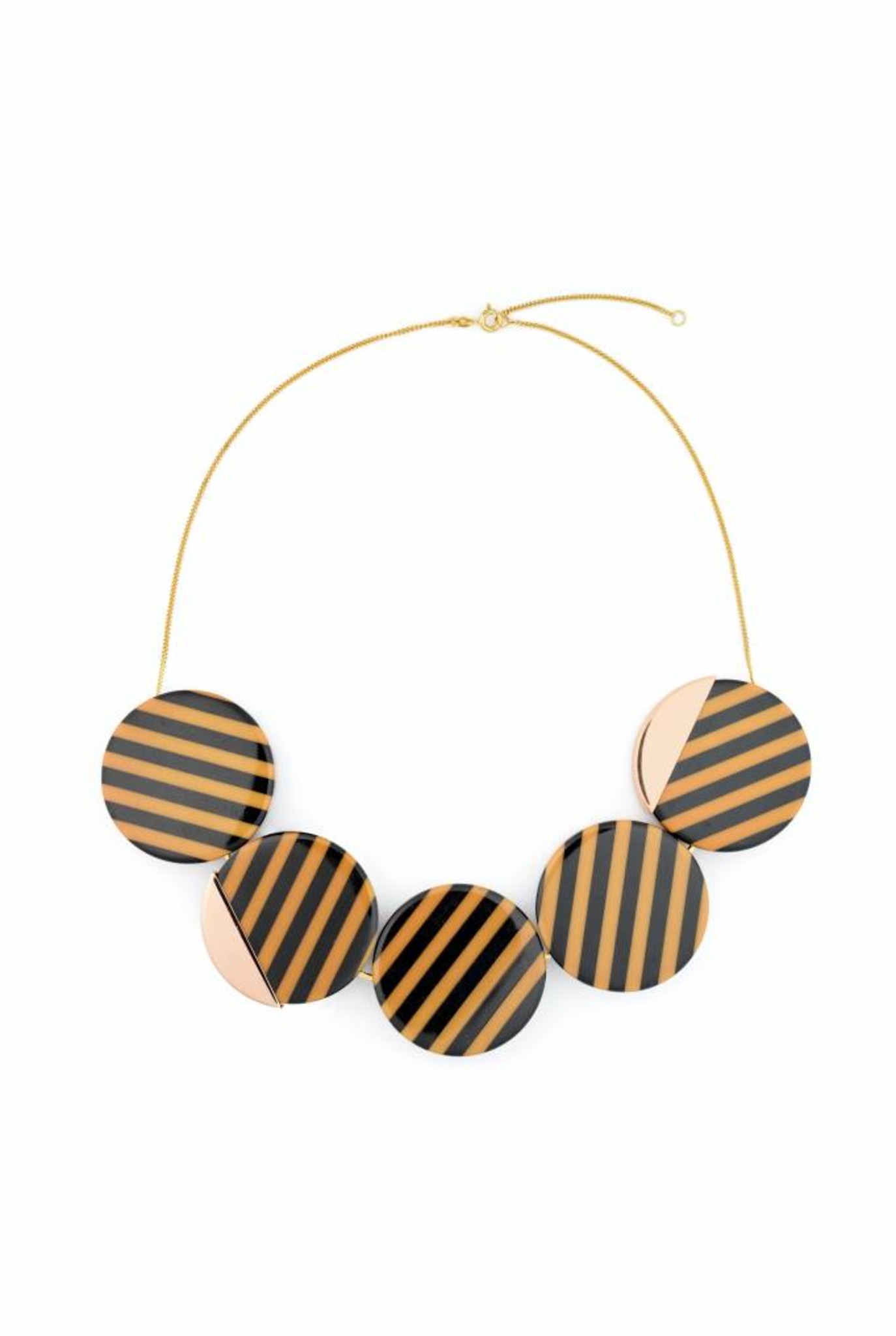 black and mocca striped short statement necklace