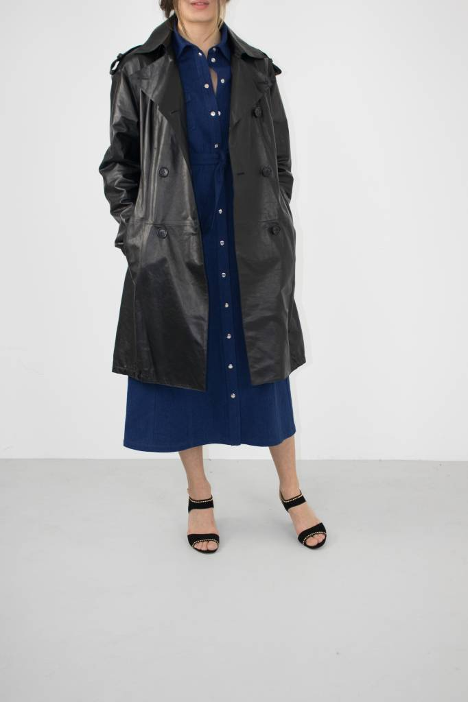 black paper leather trench coat