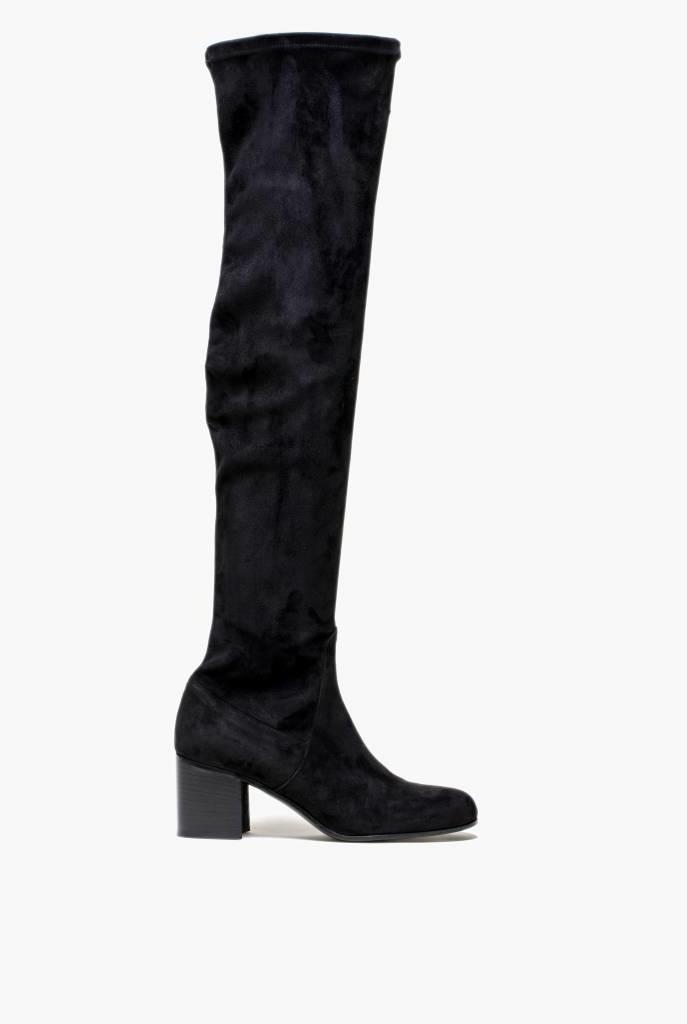 Dalia long black suède boots