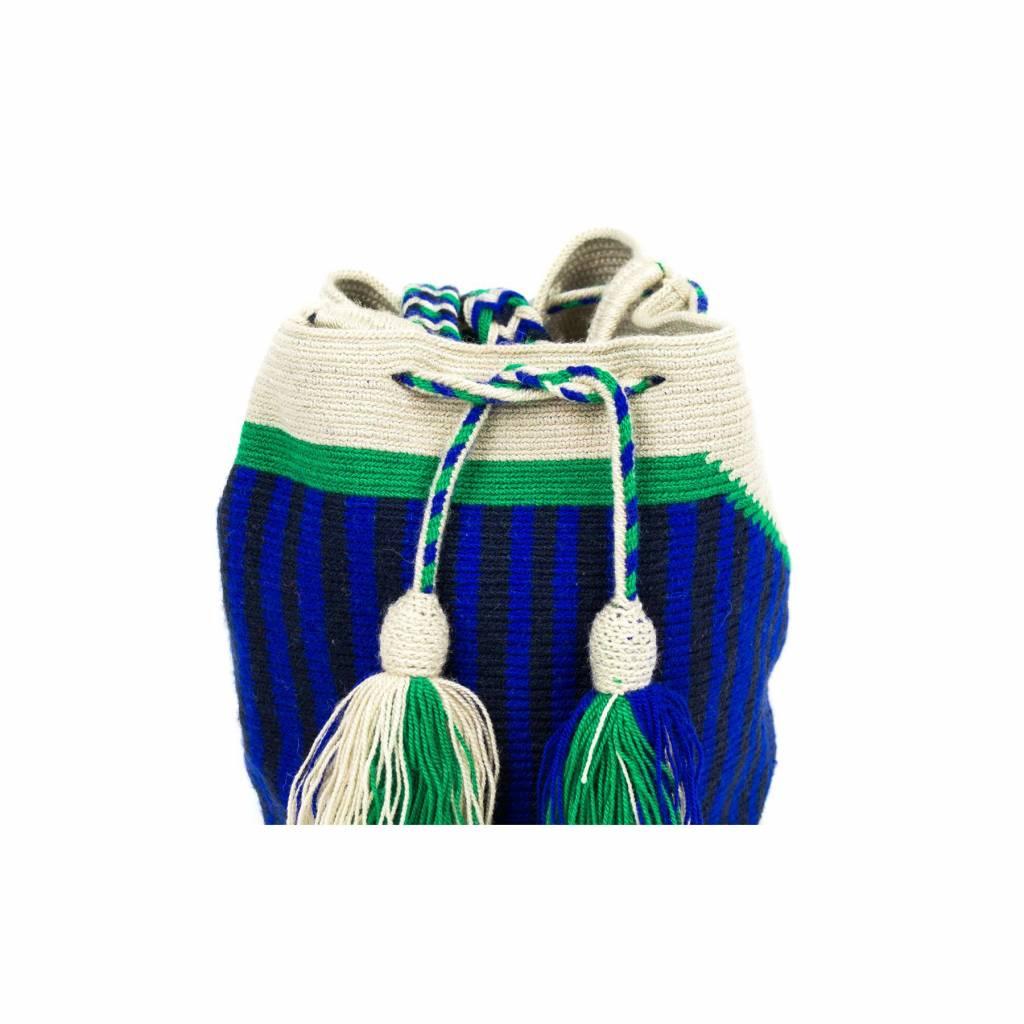 Guanabana Medium Wayuu bag blue green