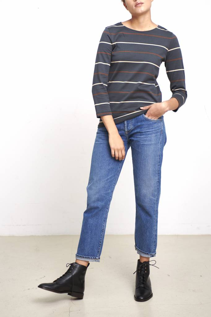 Nikki t-shirt anthracite stripe