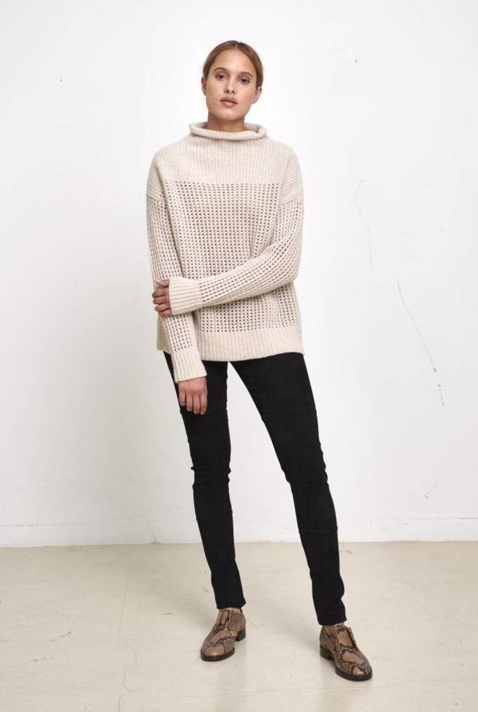 big turtleneck sweater beige
