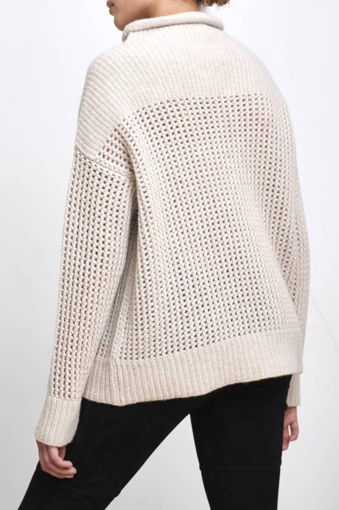 big turtleneck sweater beige