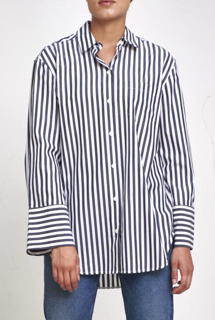 Clarke shirt bright white eclipse stripe