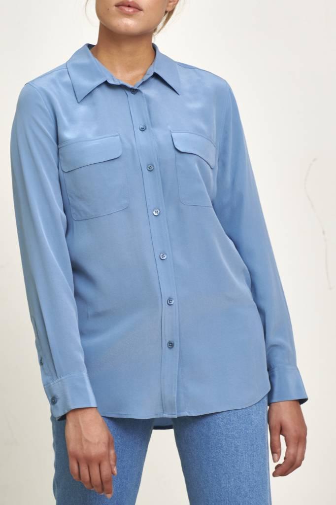 Equipment Slim signature blouse moroccan blue