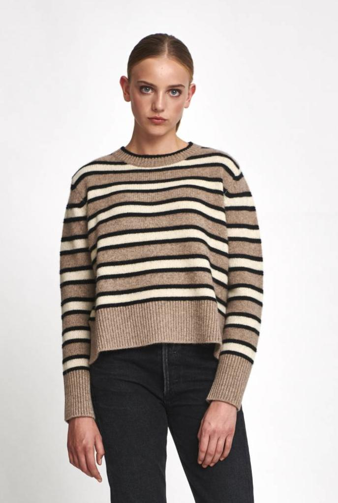 Jared sweater ecru taupe stripe