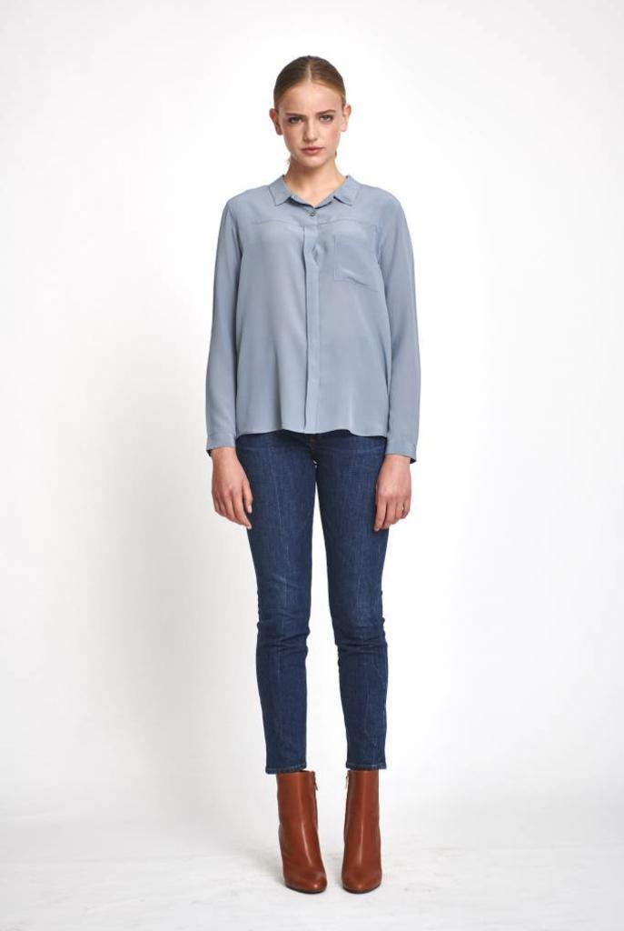 fine silk blouse steel