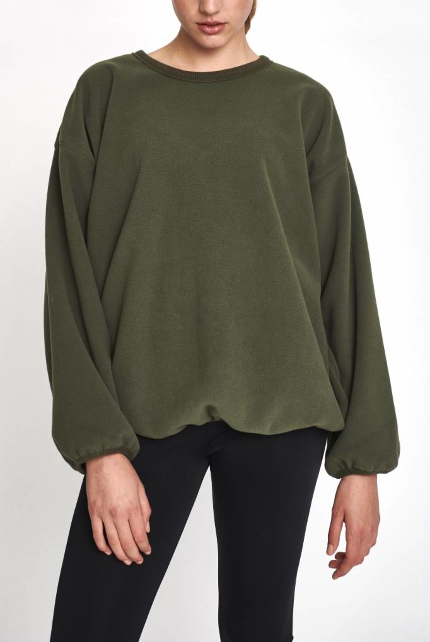 sweater wide sleeve khaki fleece