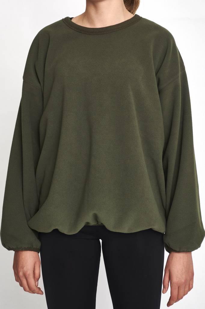 sweater wide sleeve khaki fleece