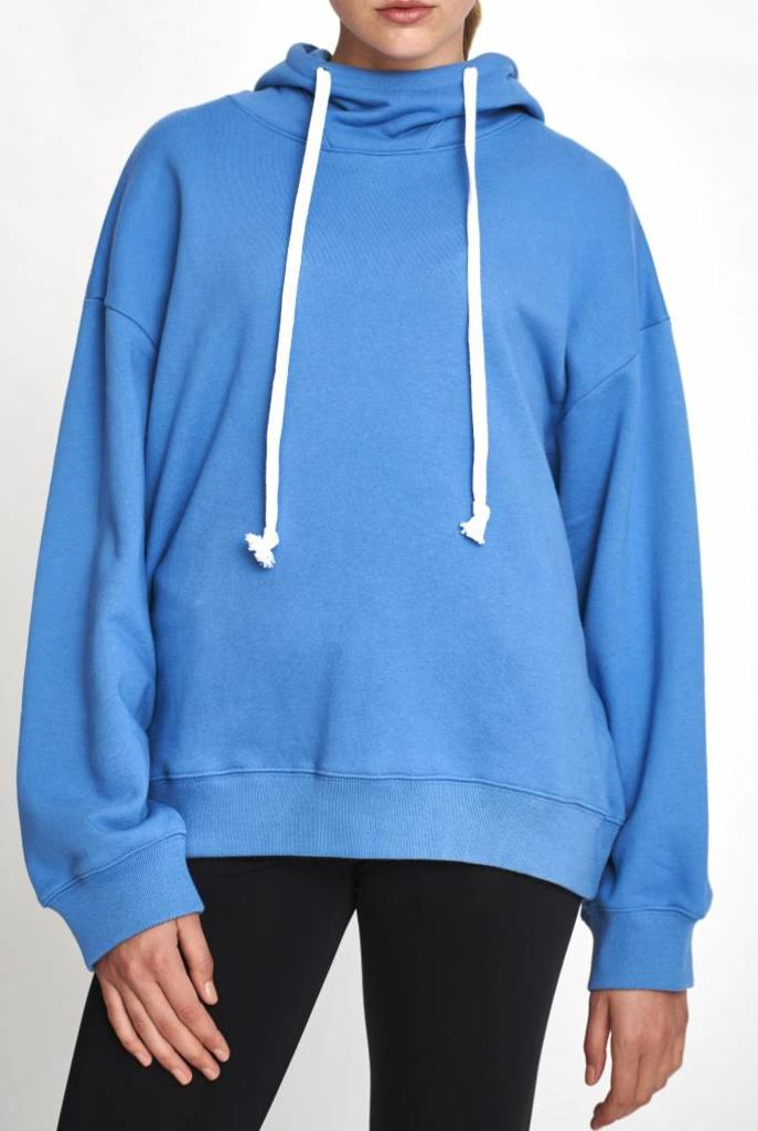 Hooded sweater mid-blue