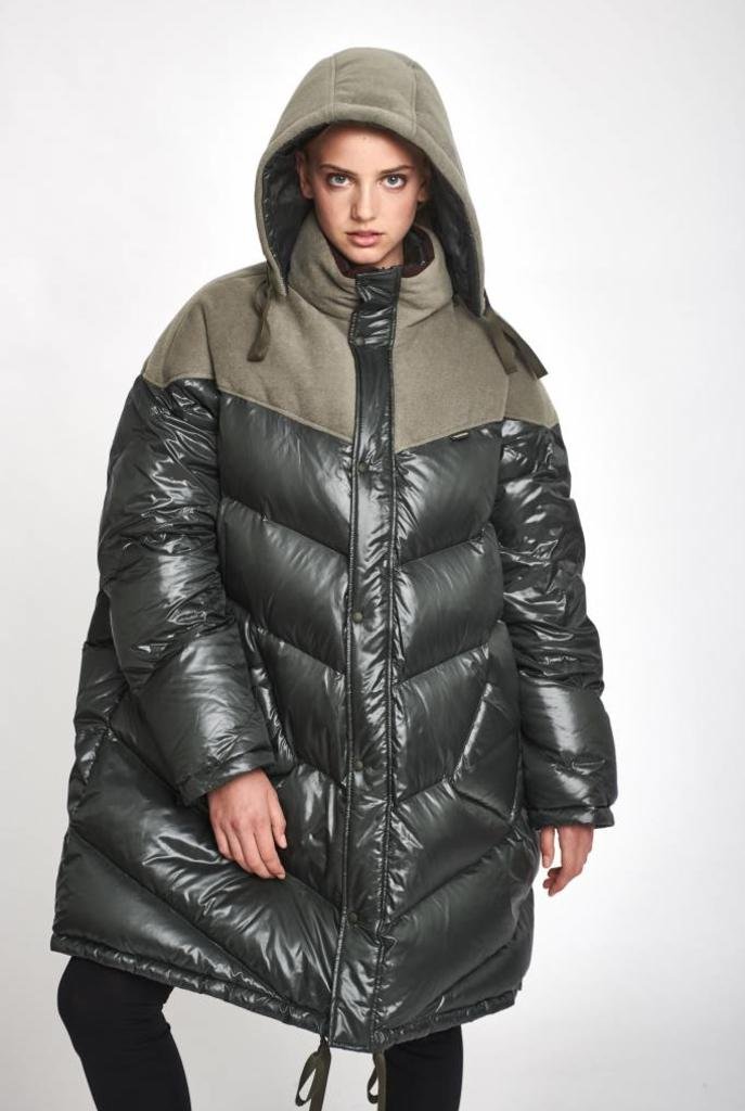 Hooded quilted down filled coat army green