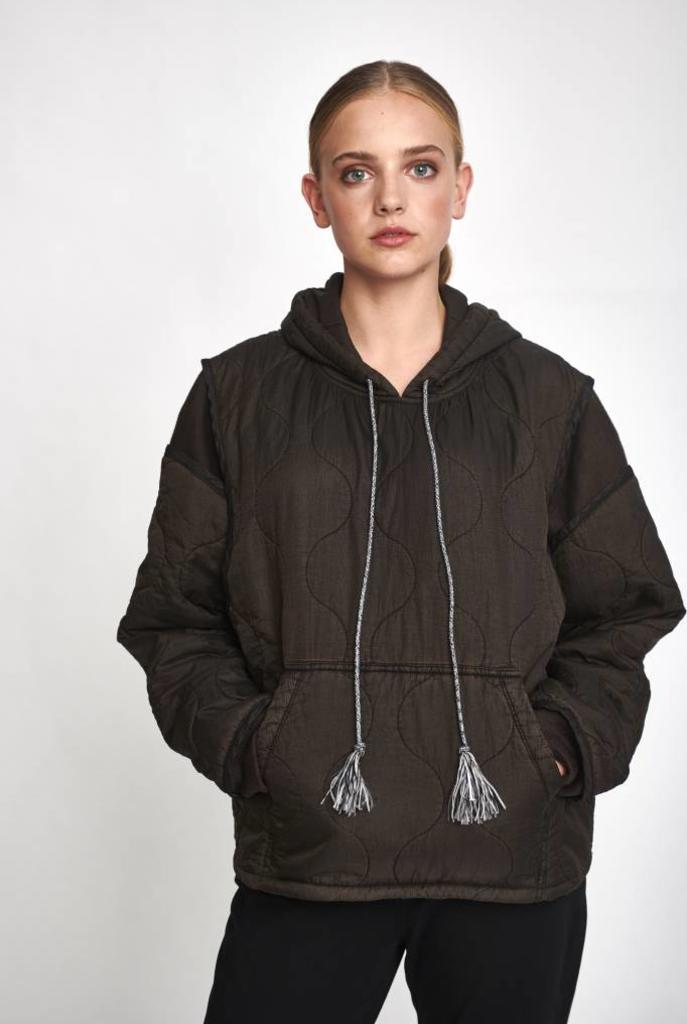 Hooded padding kangaroo coat brown