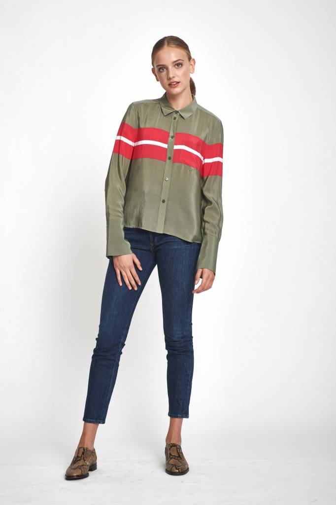 Equipment Huntley blouse camouflage charged pink