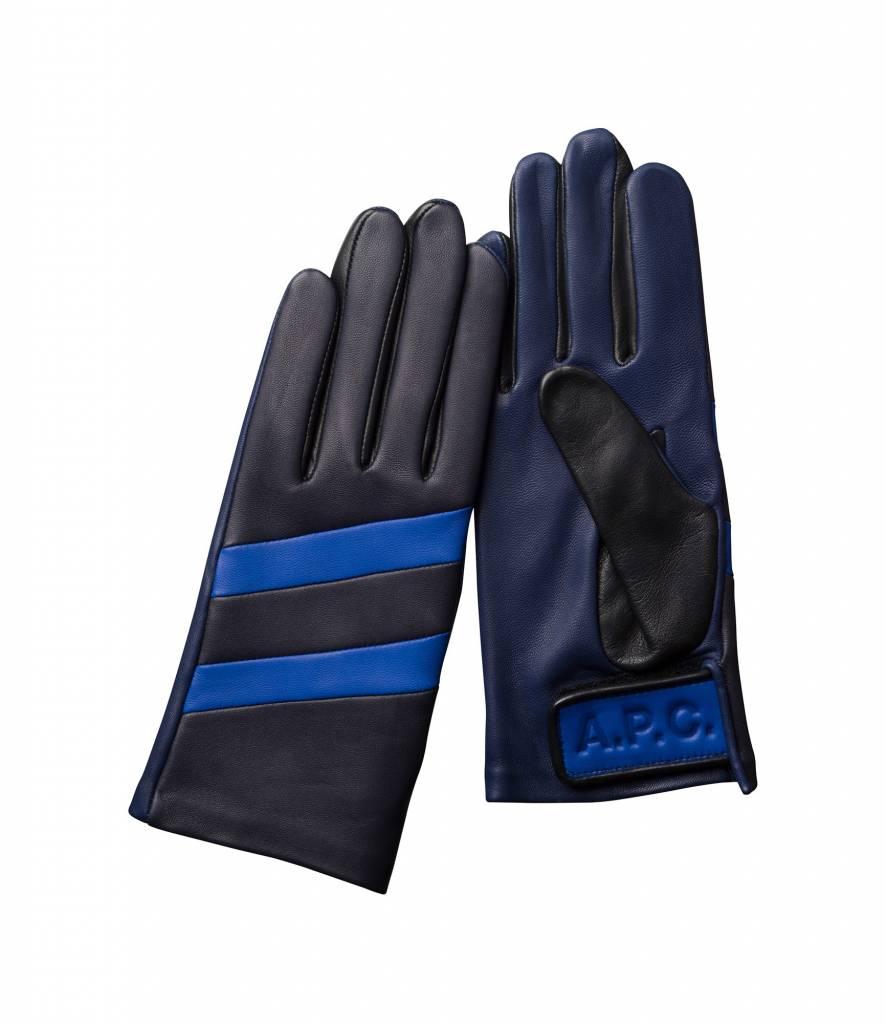 A.P.C. Sofia gloves black blue leather