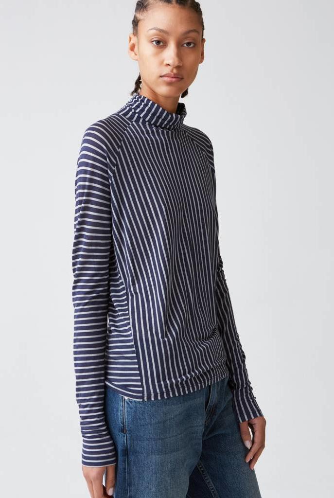 Smart LS tee dark blue stripe