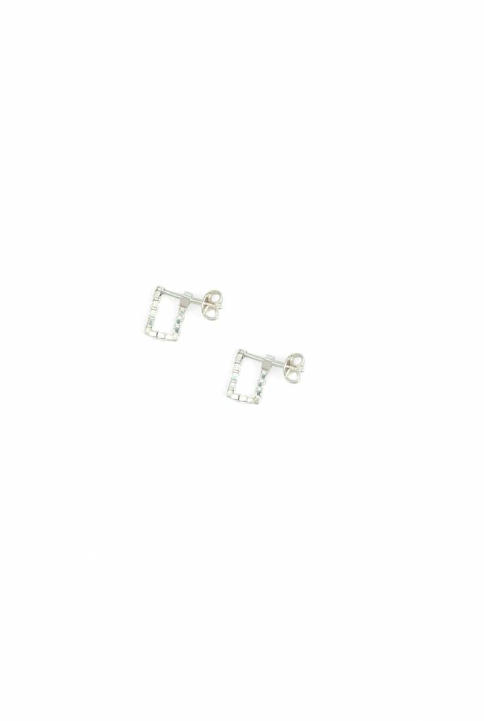 Square simple earrings silver