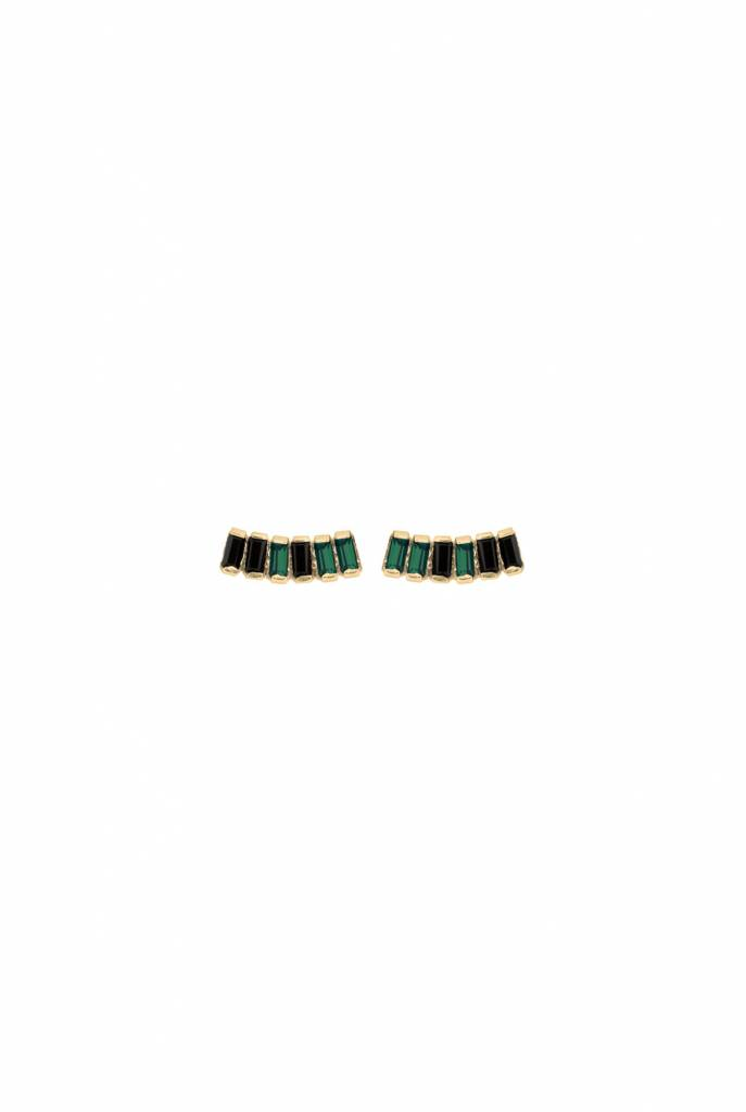 Earrings goldplated night emerald, jet crystal