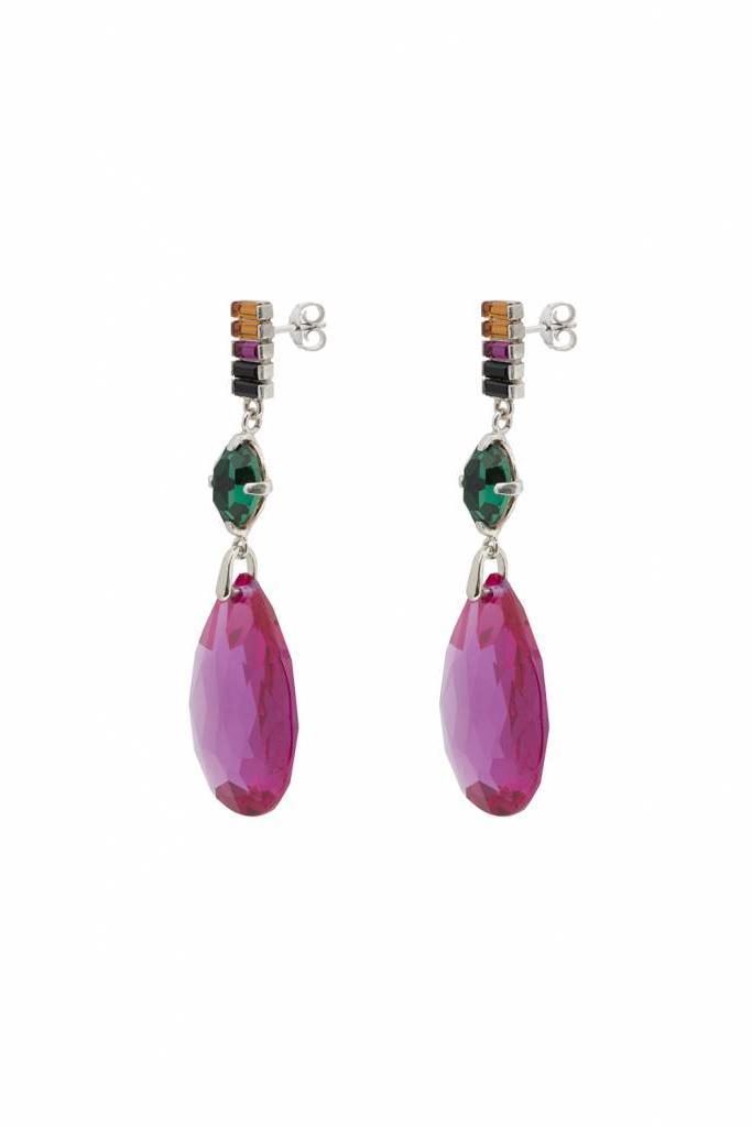 Earrings silver rainbow corundum, emerald, topaz, fuchsia, jetcrystal