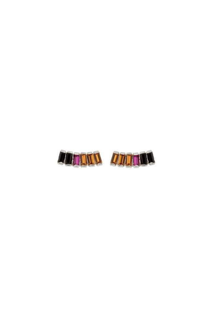 Earrings goldplated rainbow topaz, fuchsia, jet crystal