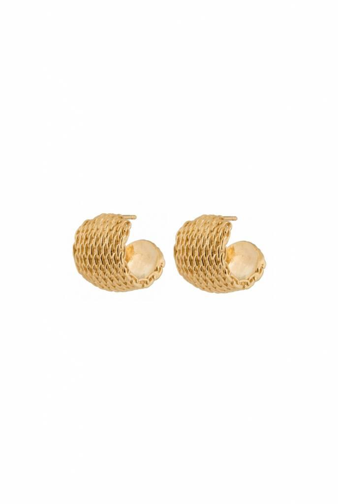 Earrings goldplated printed wide hoop