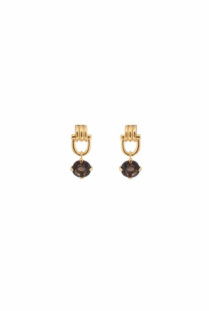 Earrings goldplated round smoky quartz