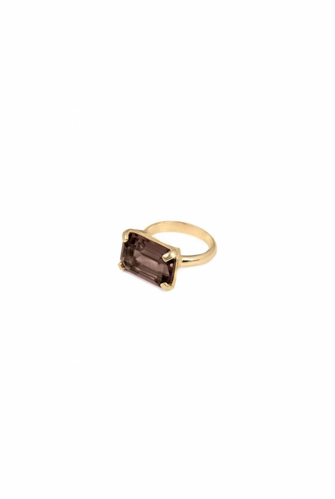 Ring goldplated rectangle smoky quartz