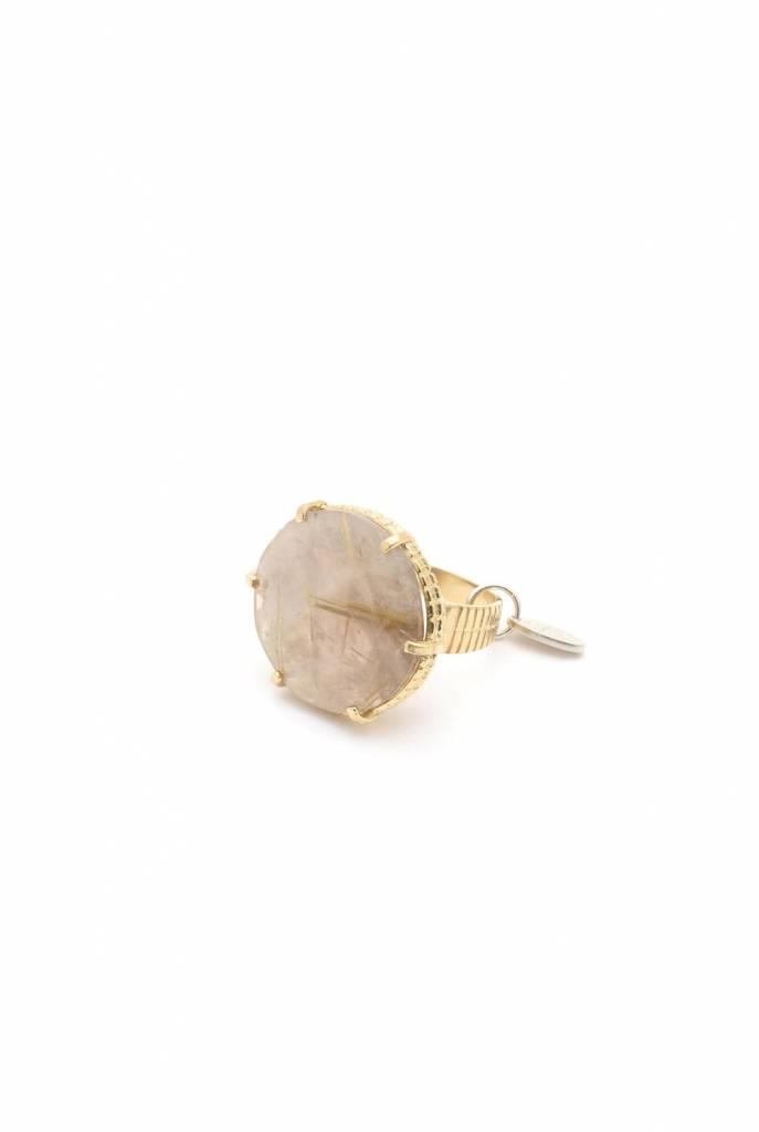 Statement ring with rutilated Quartz