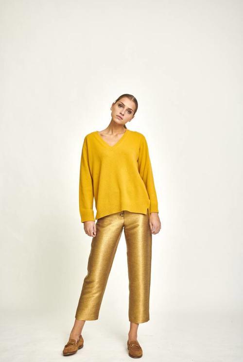 Mathilde oversized V neck sweater yellow