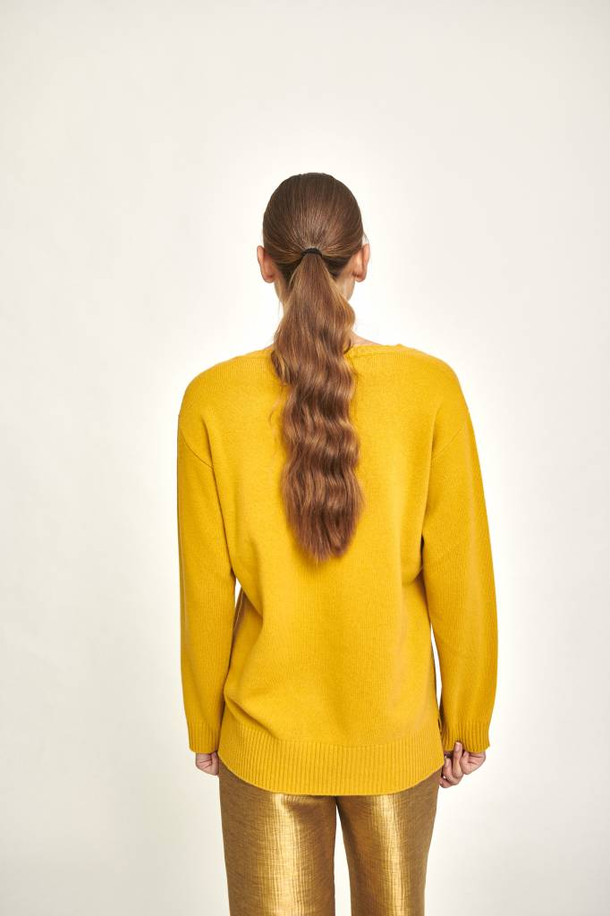 Mathilde oversized V neck sweater yellow