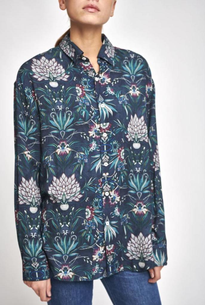 Pantheon shirt navy print