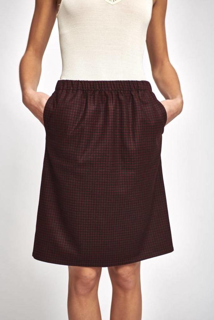 Pencil skirt check wool