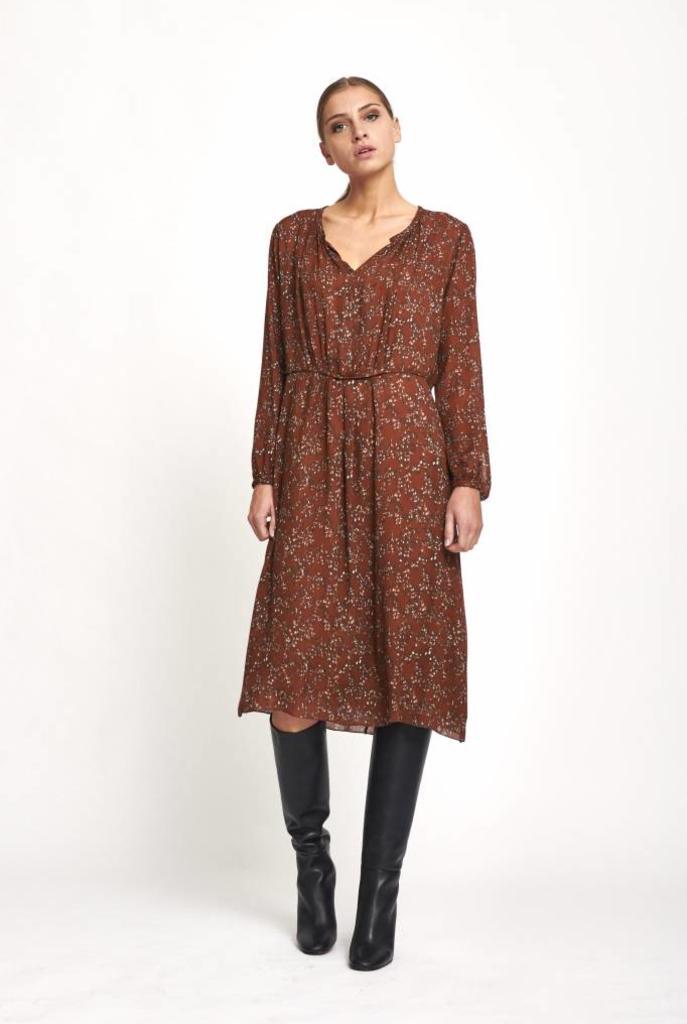 rust ethnic pattern dress