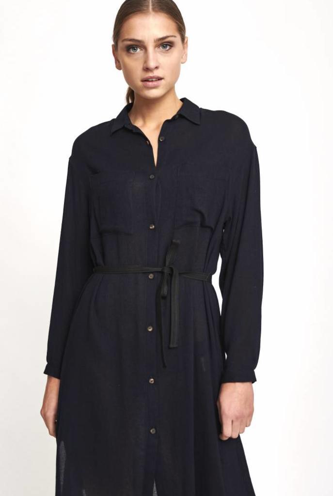 navy wool blouse dress