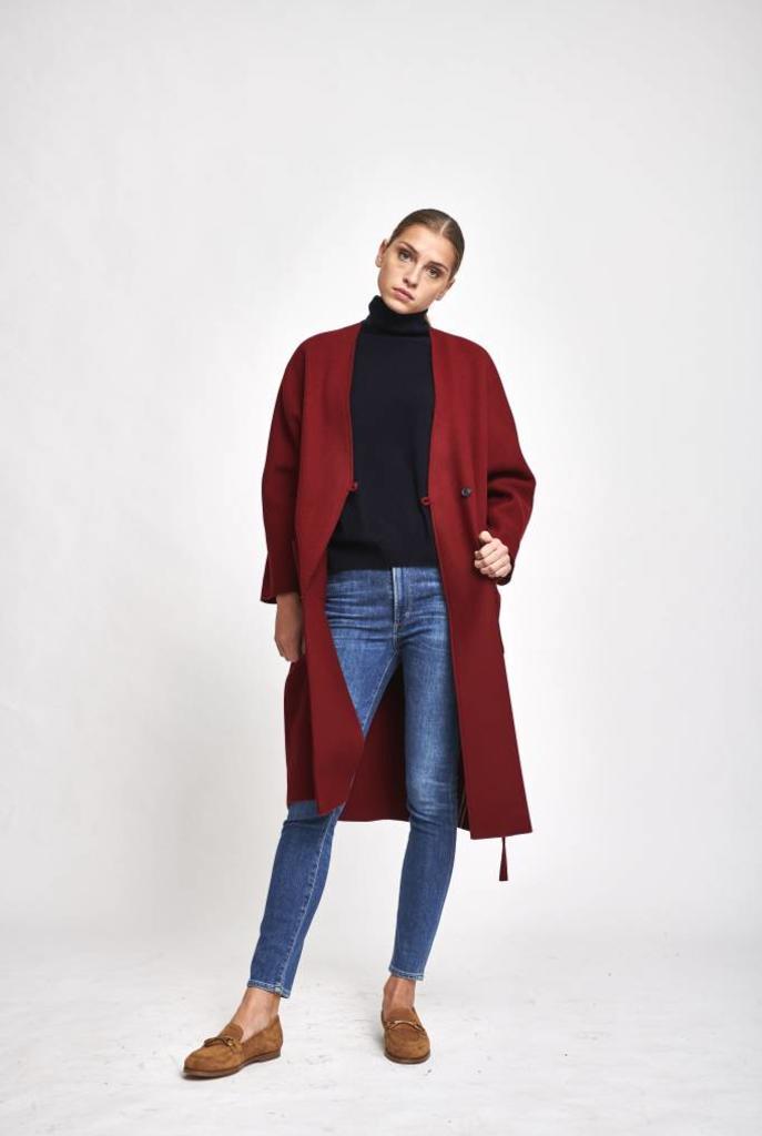 robe manteau coat burgundy