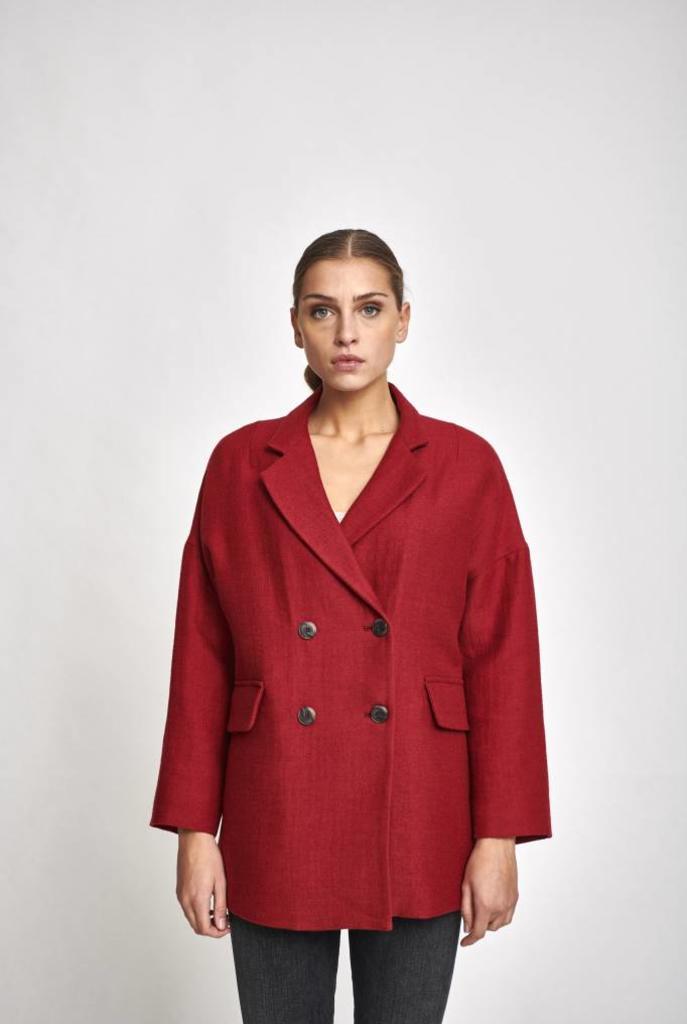red short coat
