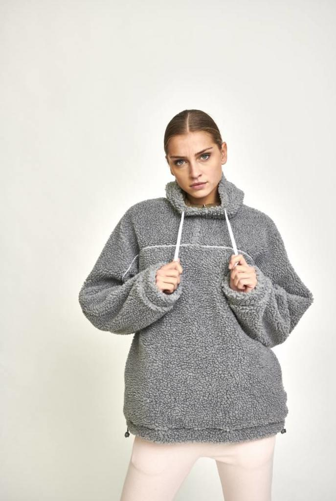 Big hooded teddy  sweater grey
