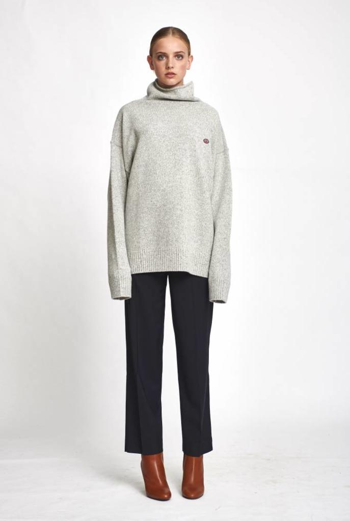 Turtle neck wool grey melee