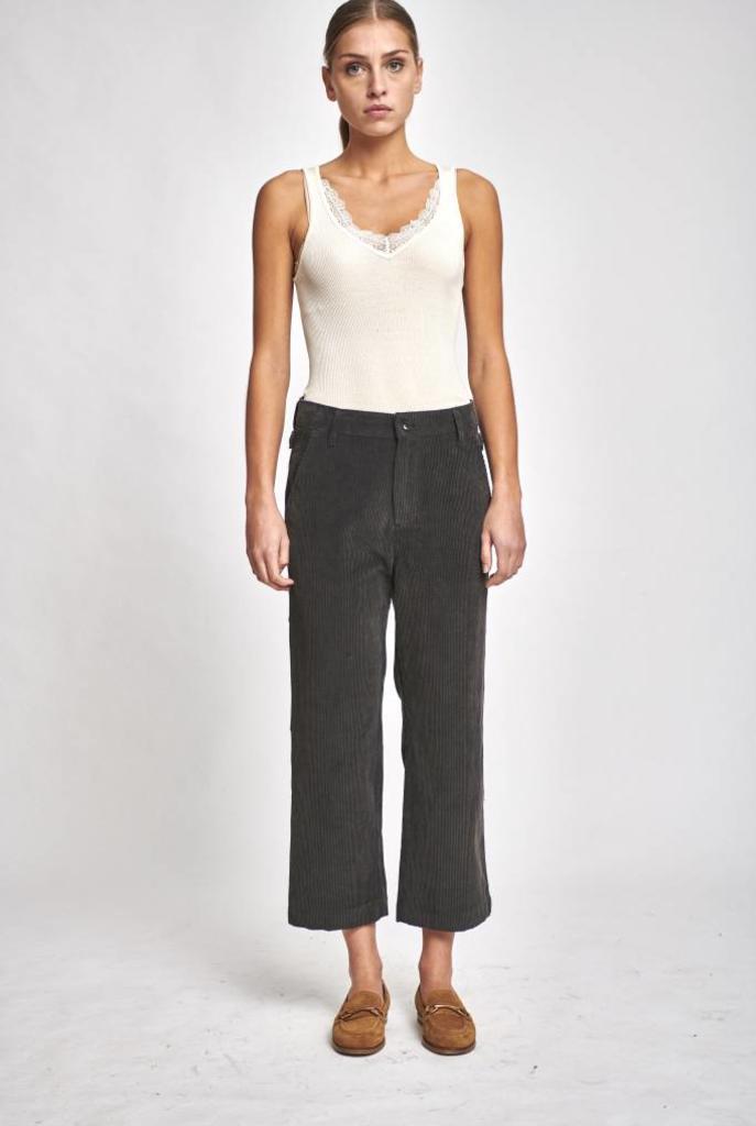 Rib cropped pantalon grey